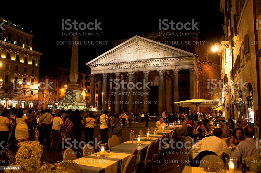 The Pantheon at night in Rome, Italy. stock photo