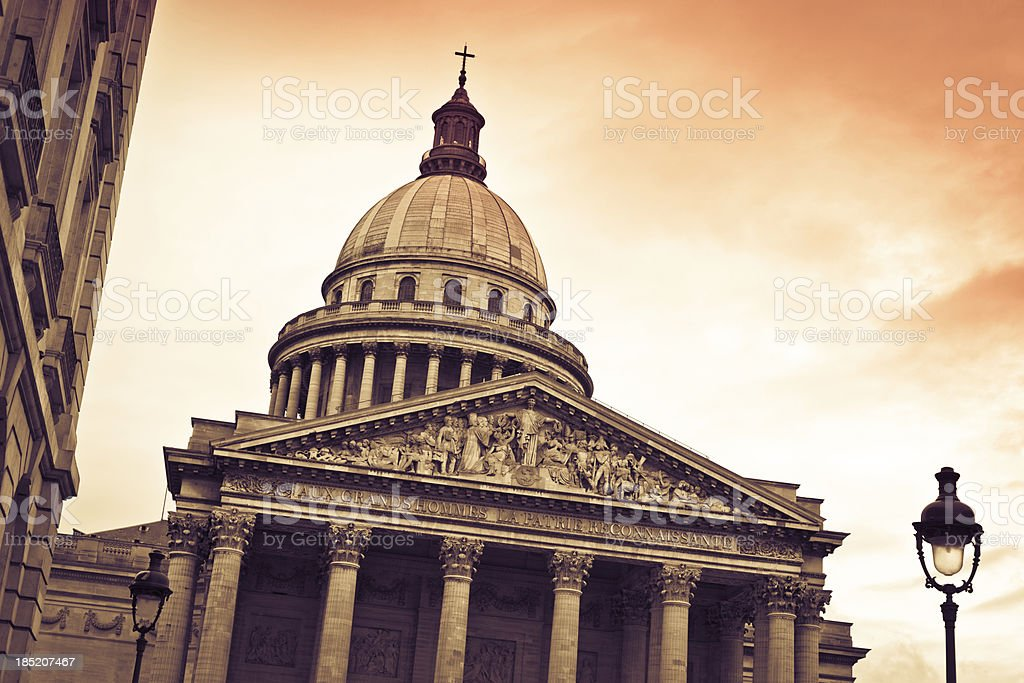 The Pantheon of Paris at Sunset royalty-free stock photo