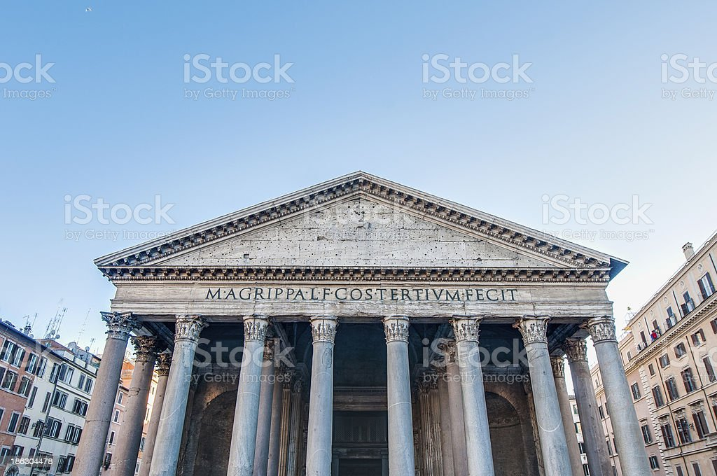 The Pantheon, temple to all gods of Rome in Italy royalty-free stock photo