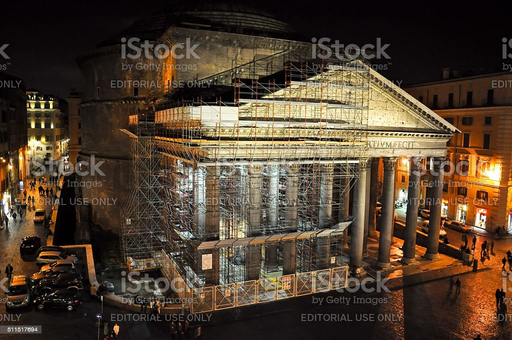 The Pantheon under reconstruction at night in Rome, Italy. stock photo
