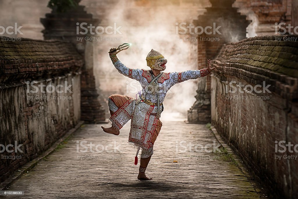 The pantomime (Khon) festival candles. stock photo
