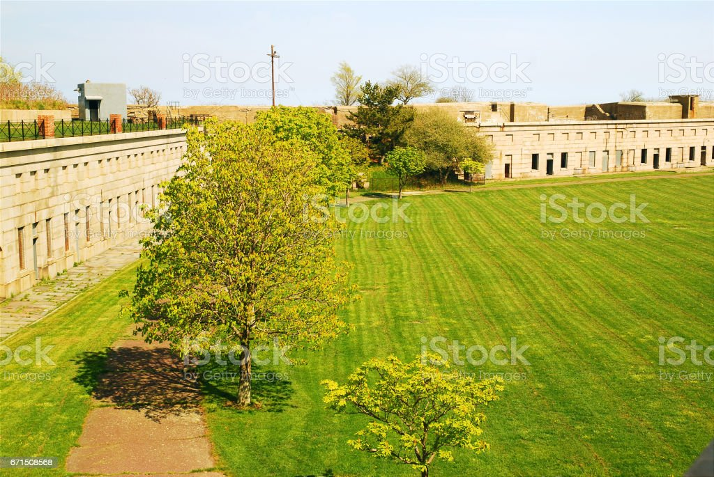 The parade grounds of Fort Warren stock photo