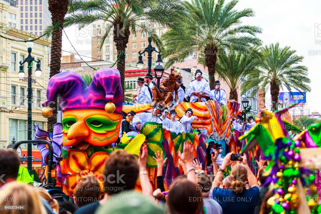 The Parade   New Orleans  Mardi Gras. stock photo