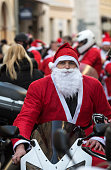 the parade of Santa Clauses on motorcycles