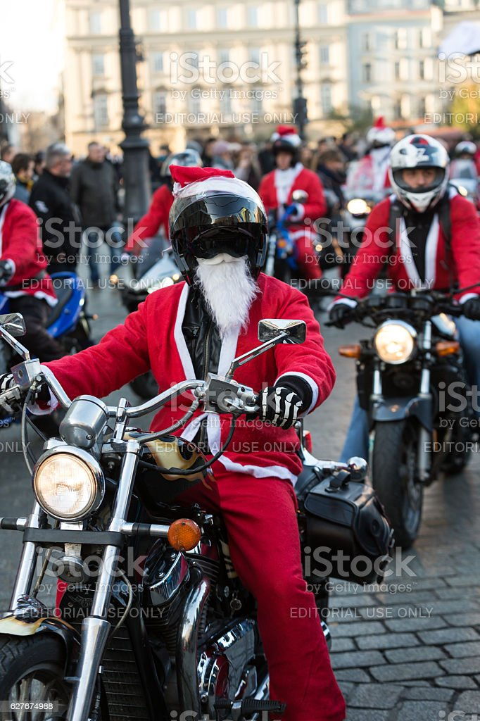 the parade of Santa Clauses on motorcycles stock photo