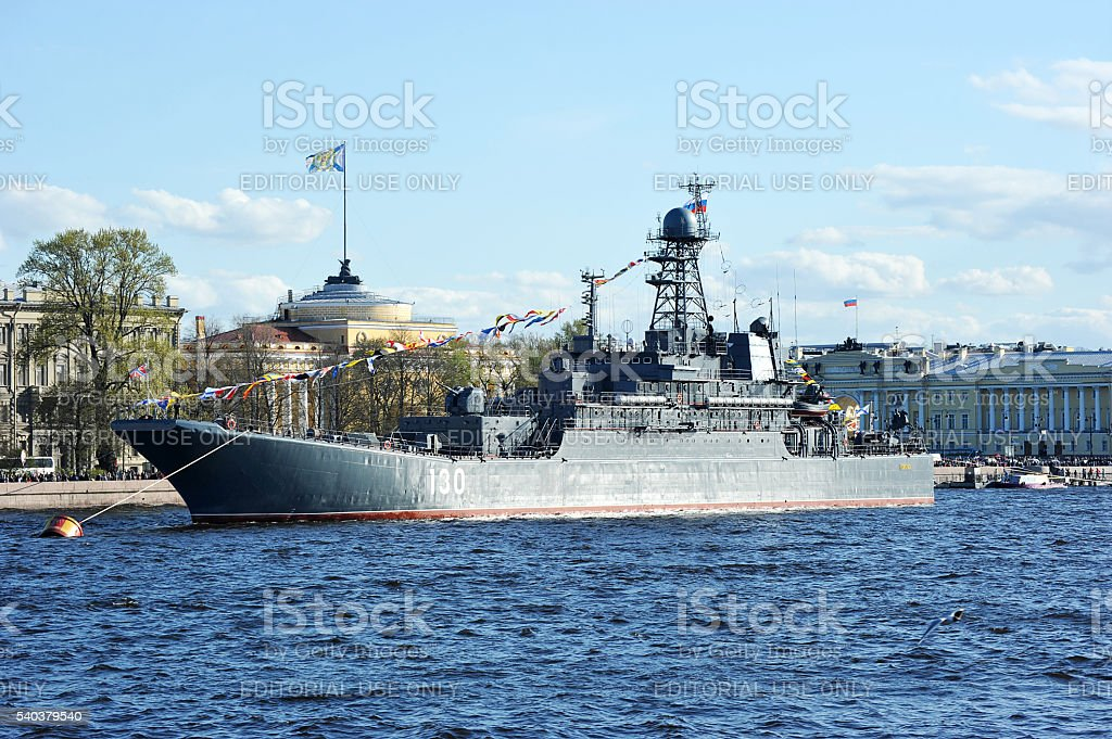 The parade of warships on the Neva river stock photo