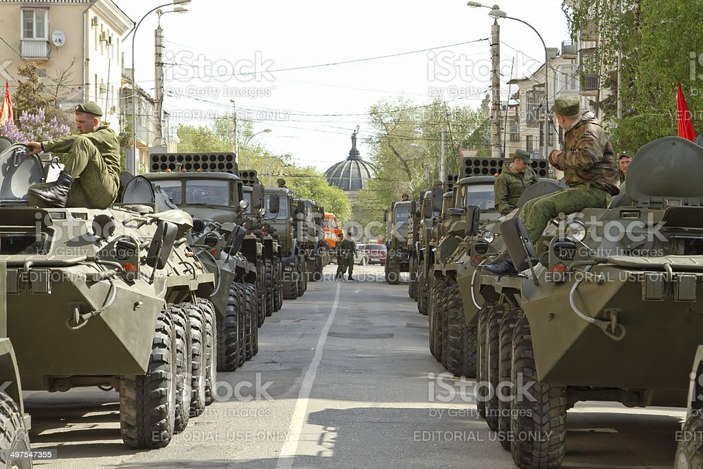 The parade on may 9 in Volgograd stock photo