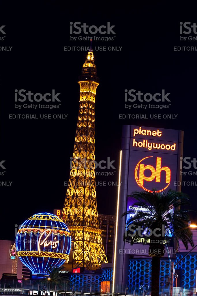 The Paris and Planet Hollywood stock photo