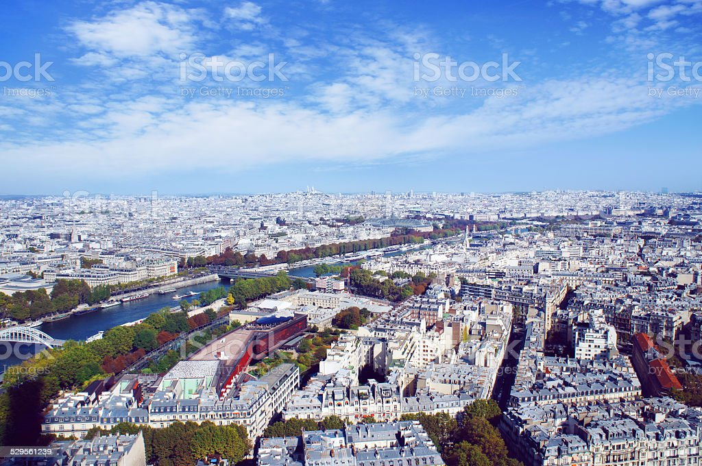 The Paris skyline from Eiffel tower stock photo