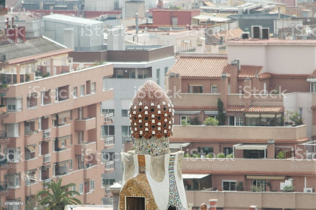 The Park Guell and Barcelona city stock photo