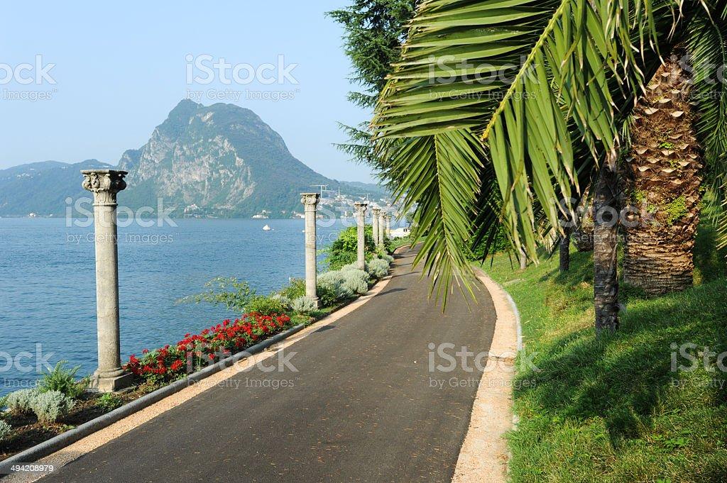 The park of villa Heleneum at Lugano stock photo
