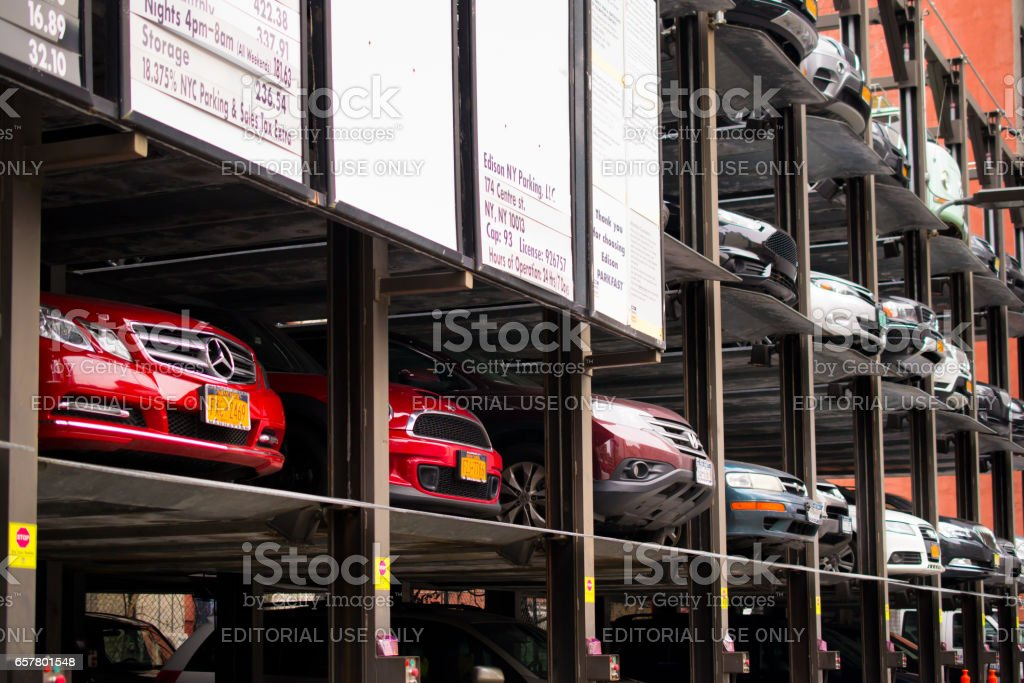 NEW YORK, USA - MARCH 25: The parking for a car. Times Square is a major commercial intersection and a neighborhood in Midtown Manhattan on March 25, 2014 in New York, USA stock photo