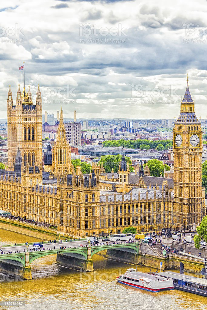 The Parliament and Big Ben, London royalty-free stock photo