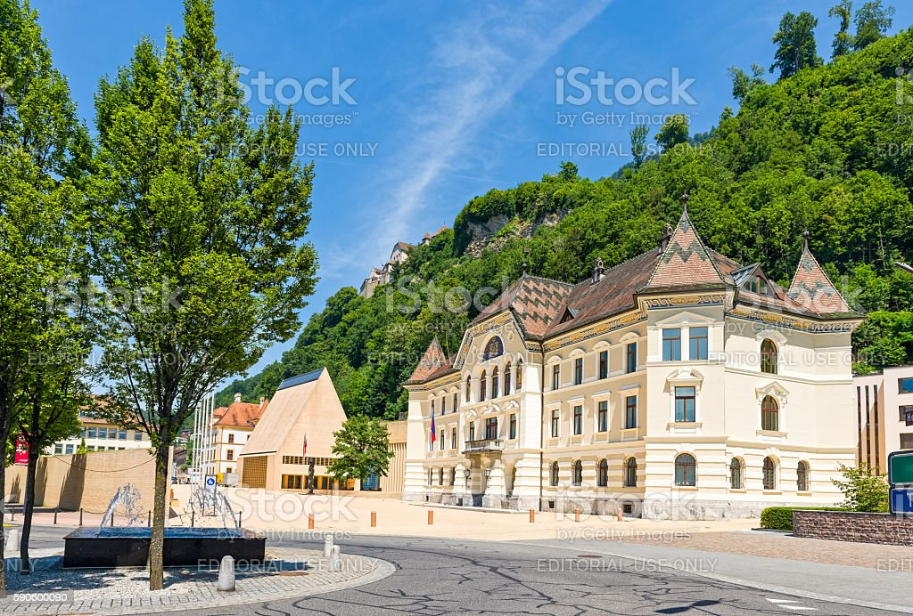 The Parliament building with Vaduz Castle in Liechtenstein stock photo