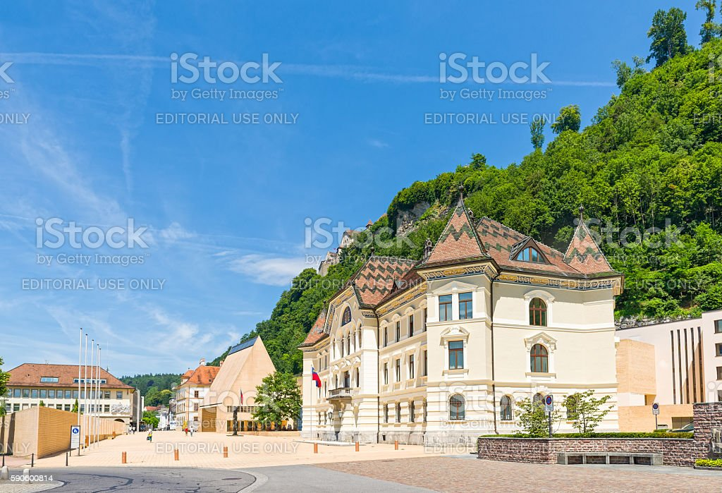 The Parliament building with Vaduz Castle stock photo