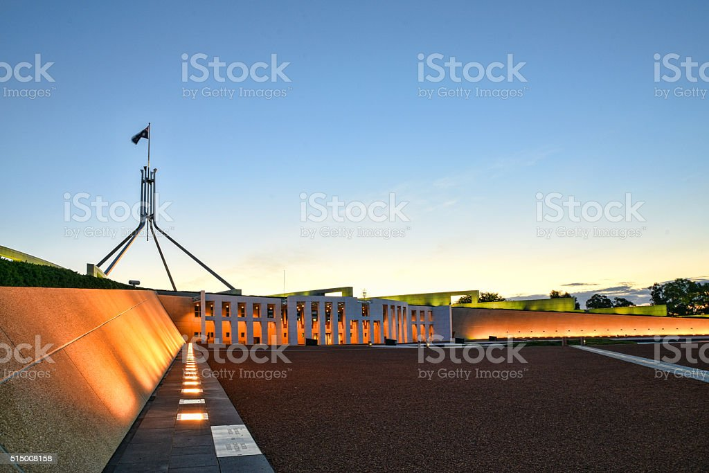 The Parliament House in Canberra at sunset stock photo