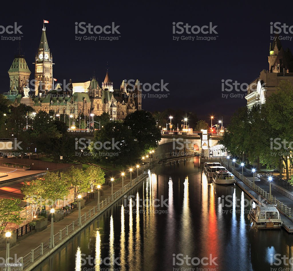 The Parliament of Canada and Rideau Canal at night, Ottawa stock photo