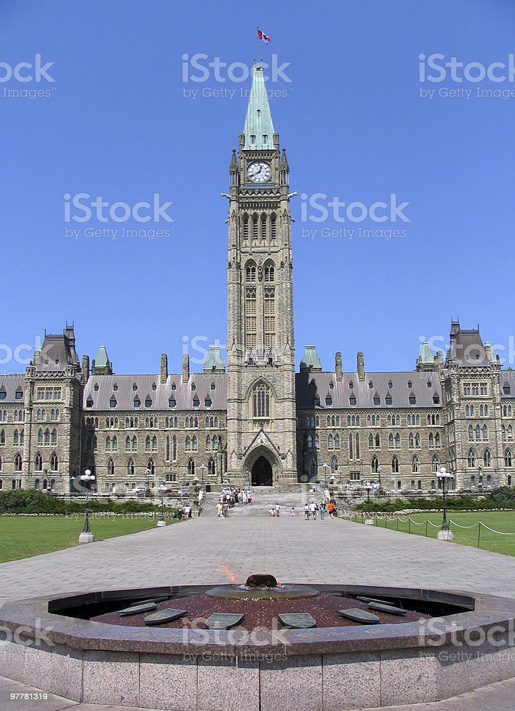 The Parliament of Canada with Heroes' Flame royalty-free stock photo