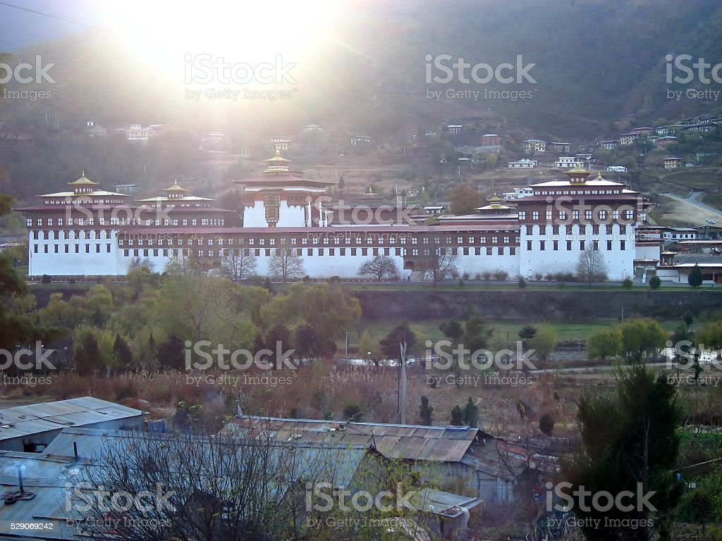 The Paro Dzong in Bhutan stock photo