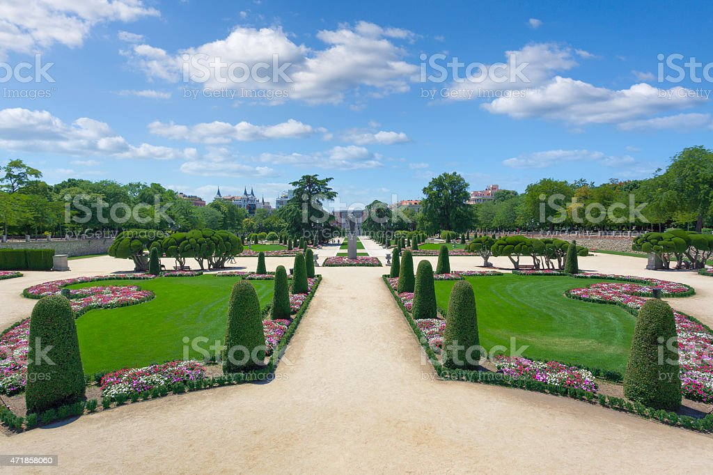 The parterre garden of Retiro Park in Madrid stock photo