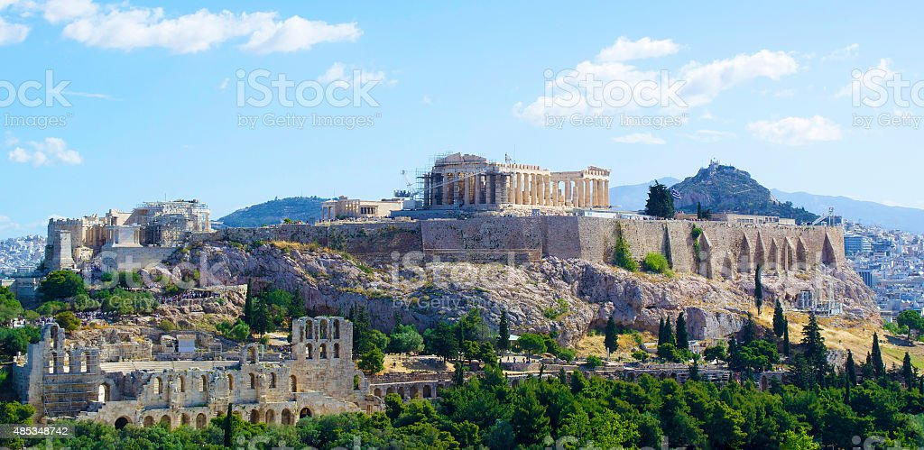 The Parthenon and Acropolis Rock stock photo