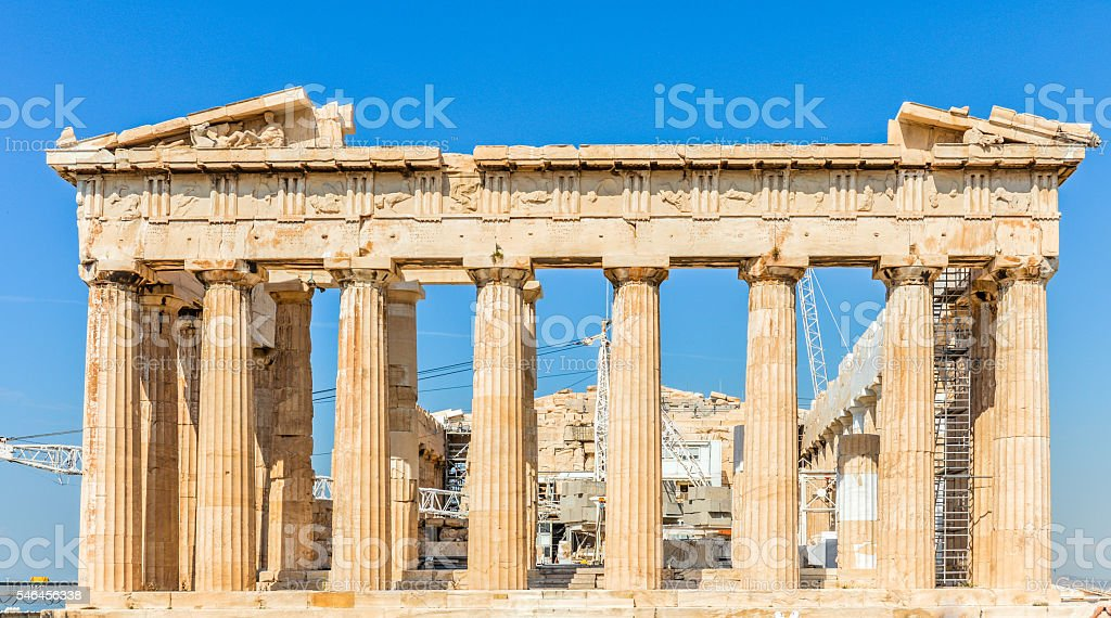 The Parthenon at the Acropolis - Athens, Greece stock photo