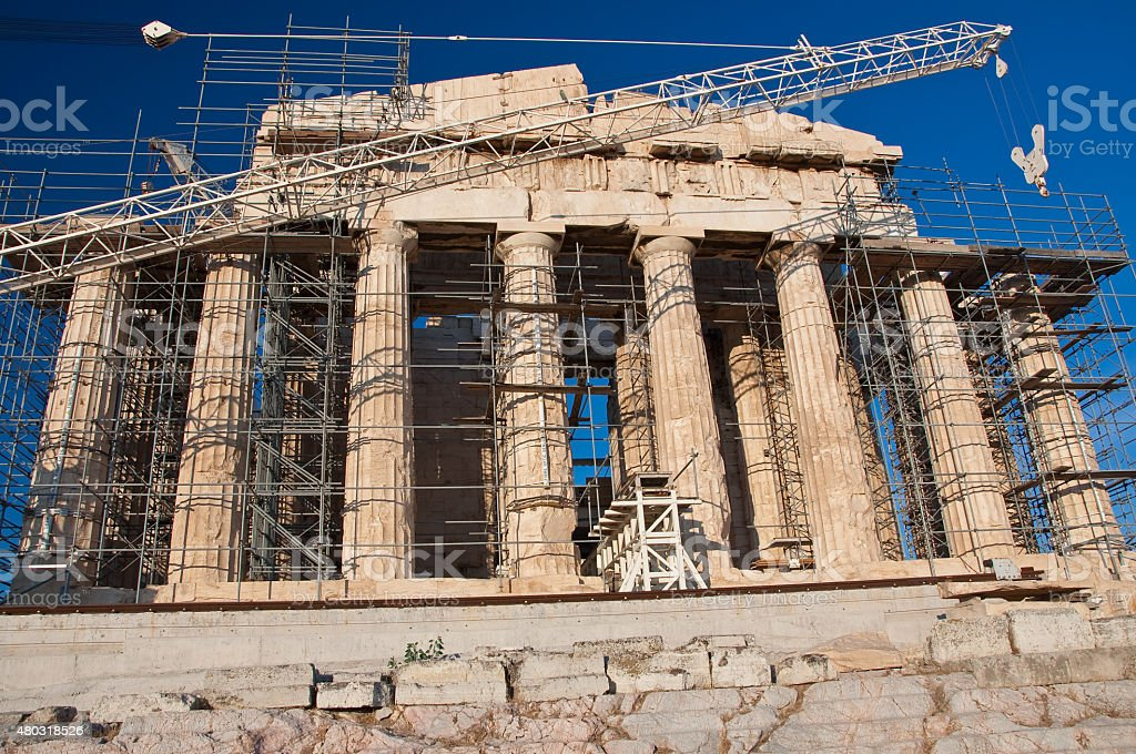 The Parthenon under reconstruction on the Athenian Acropolis, Greece. stock photo