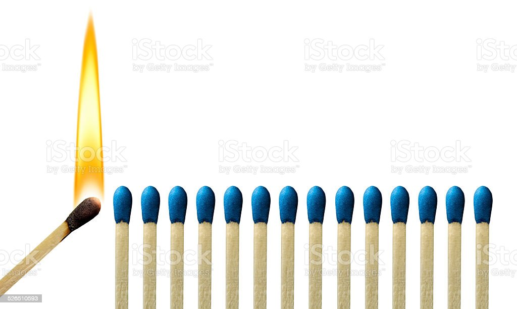 The Passion of One Ignites Ideas, Emotion, Change in Others stock photo