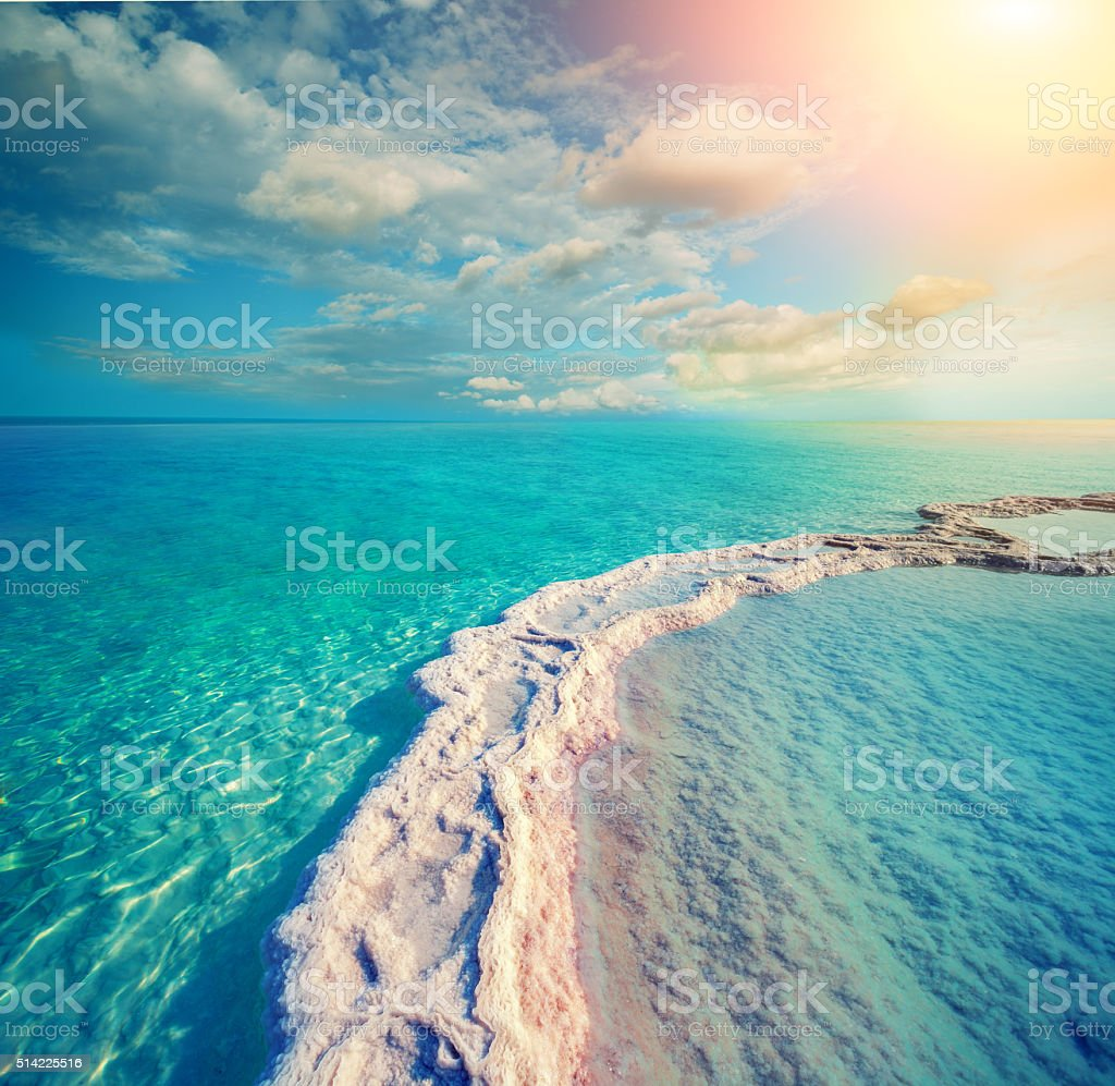 The path from the evaporated salt in the Dead Sea stock photo