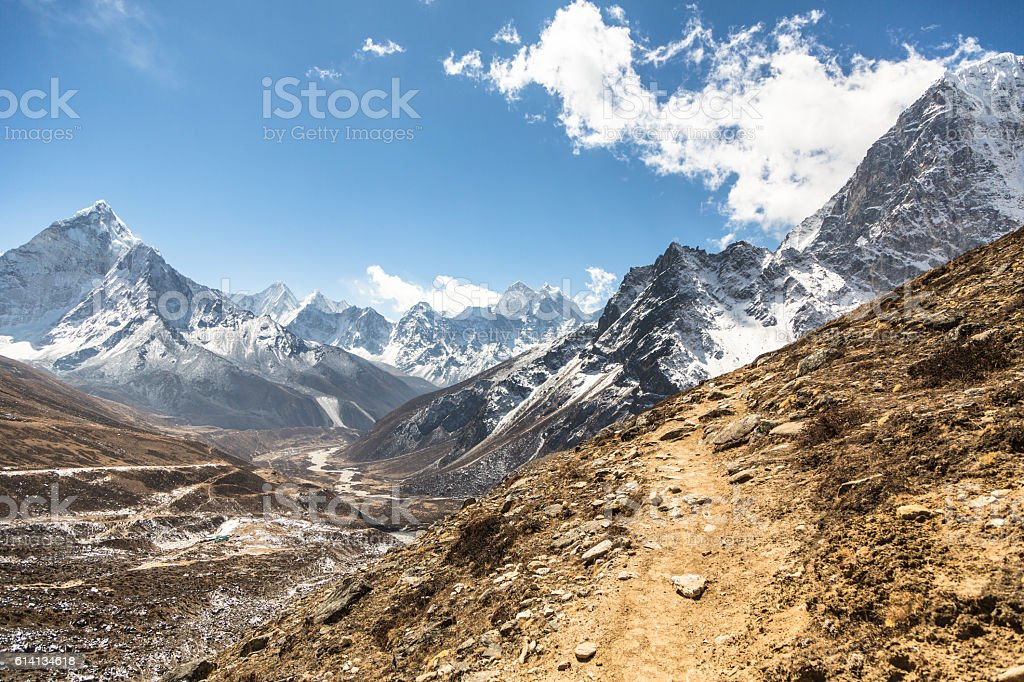 The path to Cho La Pass in Nepal stock photo