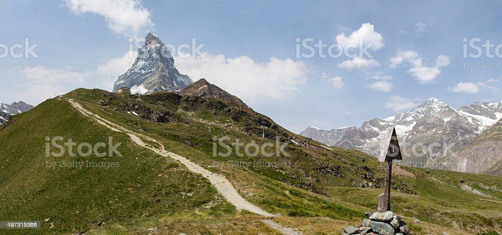 The path to Schwarszsee stock photo