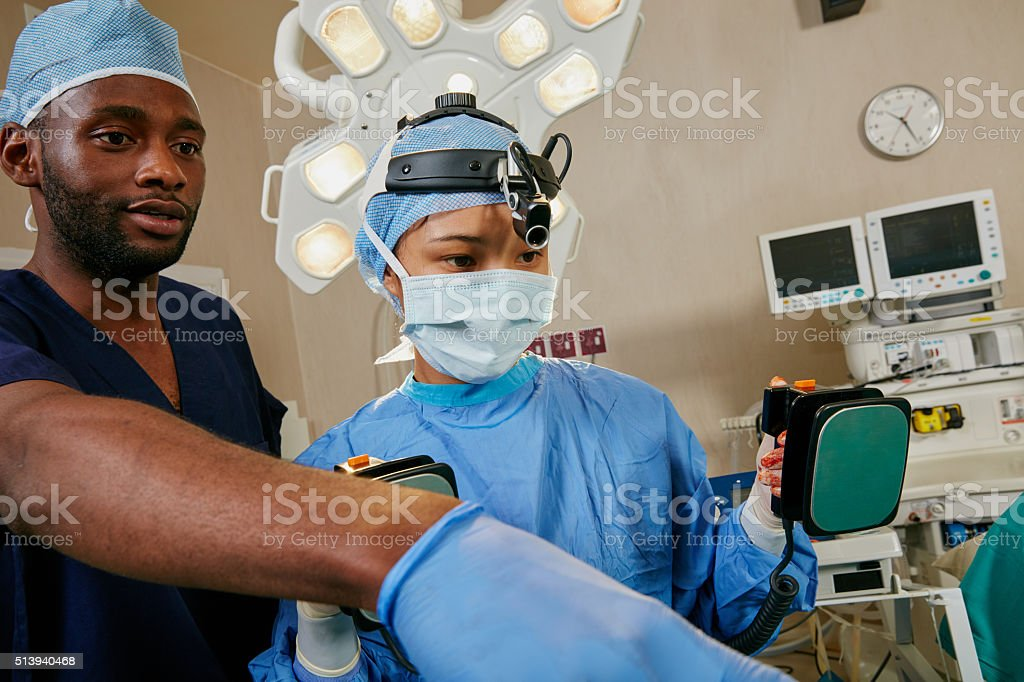 The patient is going into defib! stock photo