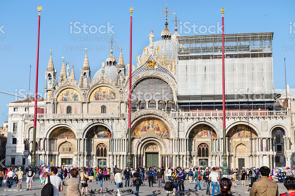 The Patriarchal Cathedral Basilica of Saint Mark in Venice stock photo