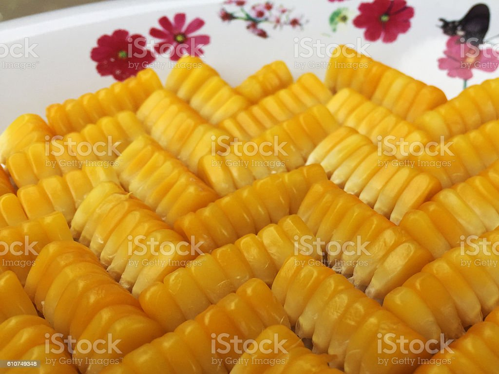 The pattern of corn grains. stock photo
