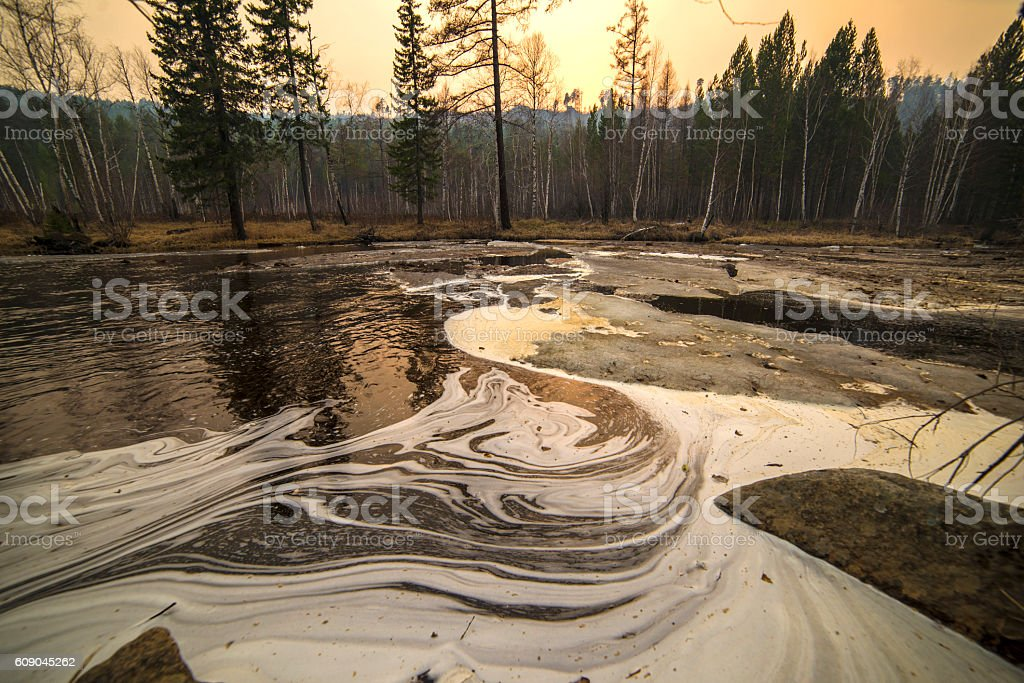 the pattern on the water in the river in Siberia stock photo