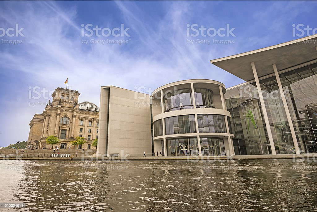 The Paul-Loebe-Haus and the Reichstag in Berlin stock photo