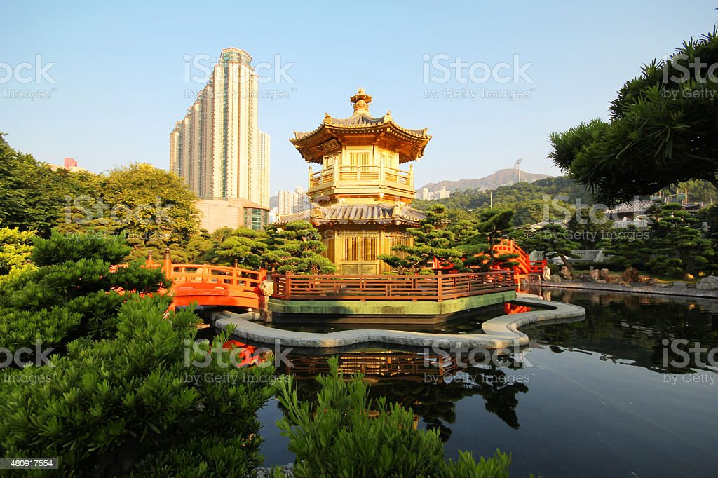 The Pavilion, Nan Lian Garden, Hong Kong stock photo