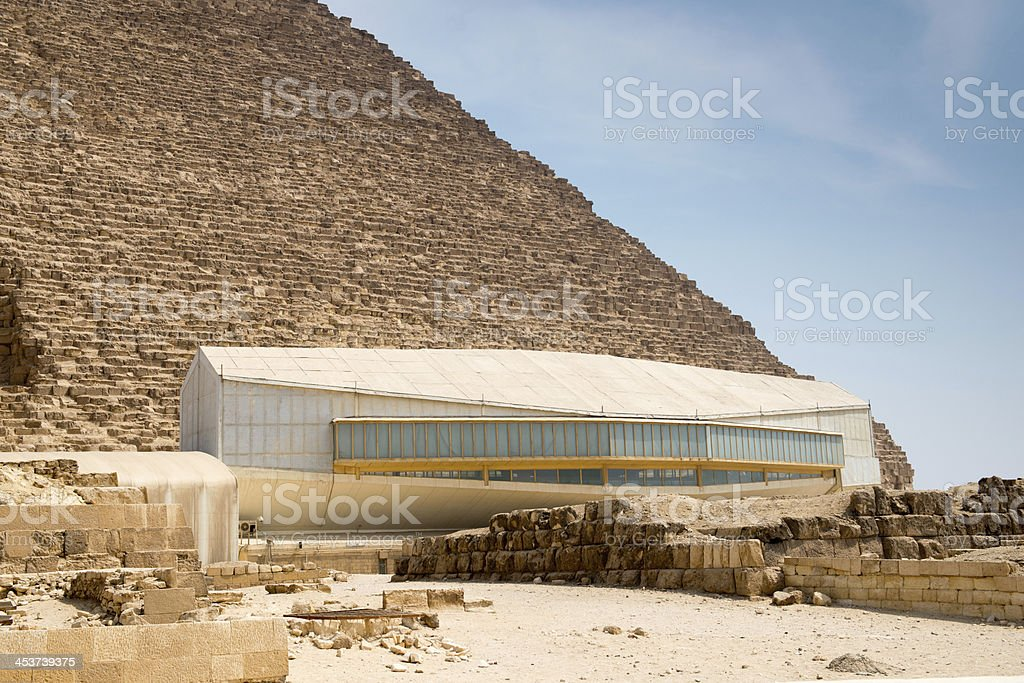 The pavillion with Khufu ship royalty-free stock photo