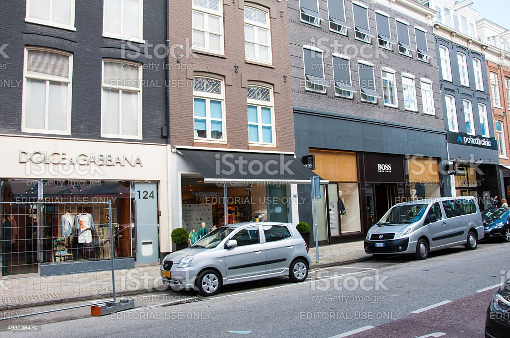 The P.C.Hooftstraat expensive and posh shopping street in Amsterdam. stock photo
