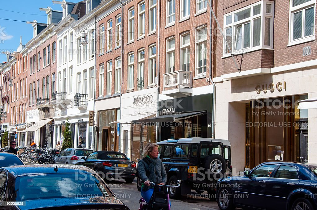 The P.C.Hooftstraat fashion street with the row of world's brands. stock photo