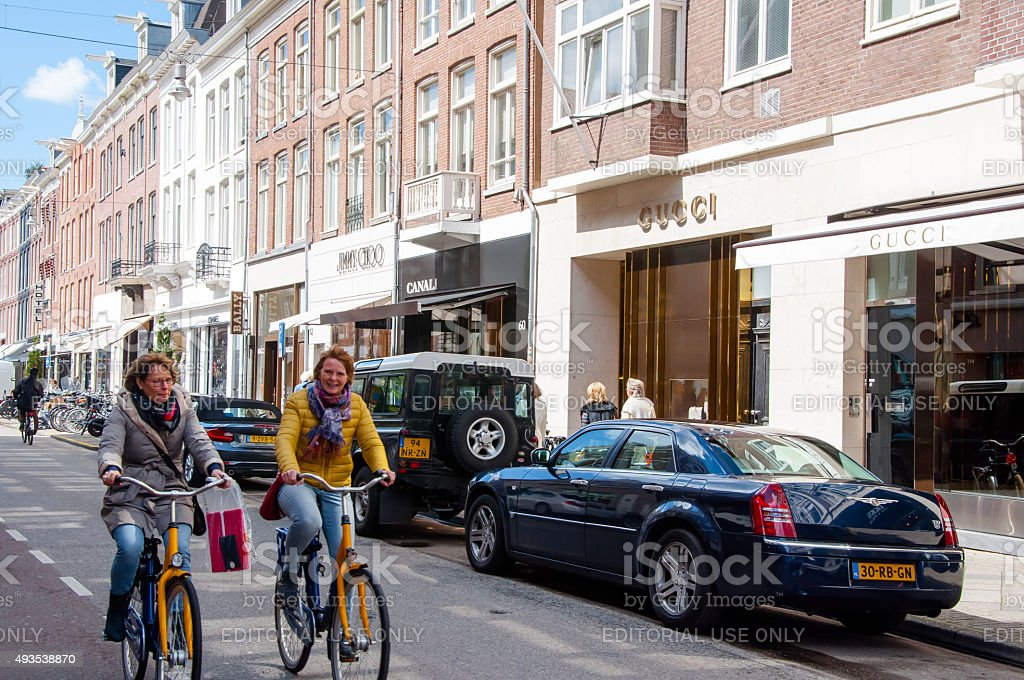 The P.C.Hooftstraat fashion street with the world biggest brands. Amsterdam. stock photo
