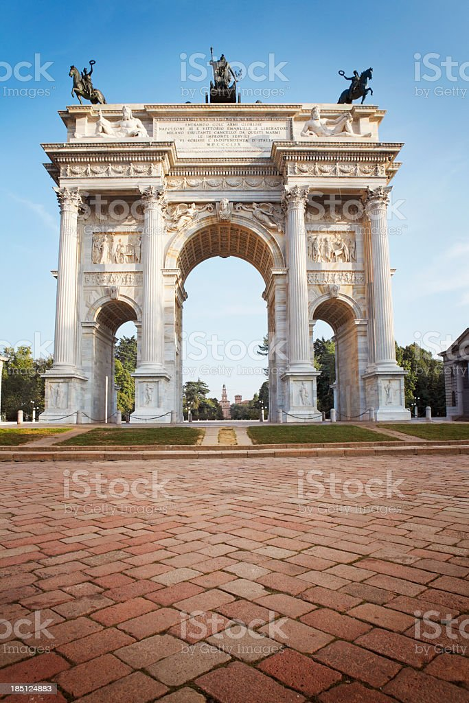 The Peace Arch in Milan stock photo