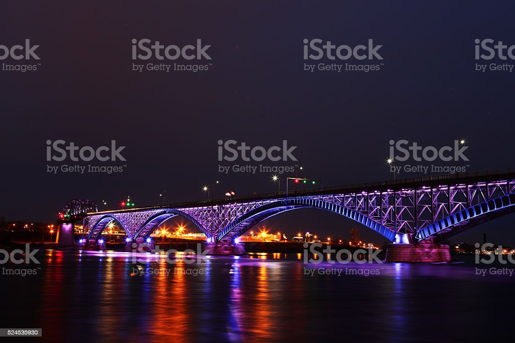 The Peace Bridge, a view at night stock photo