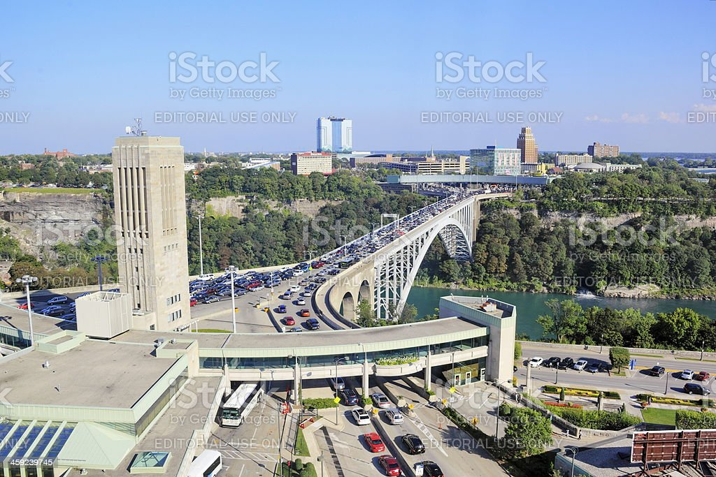 The Peace Bridge crossing stock photo