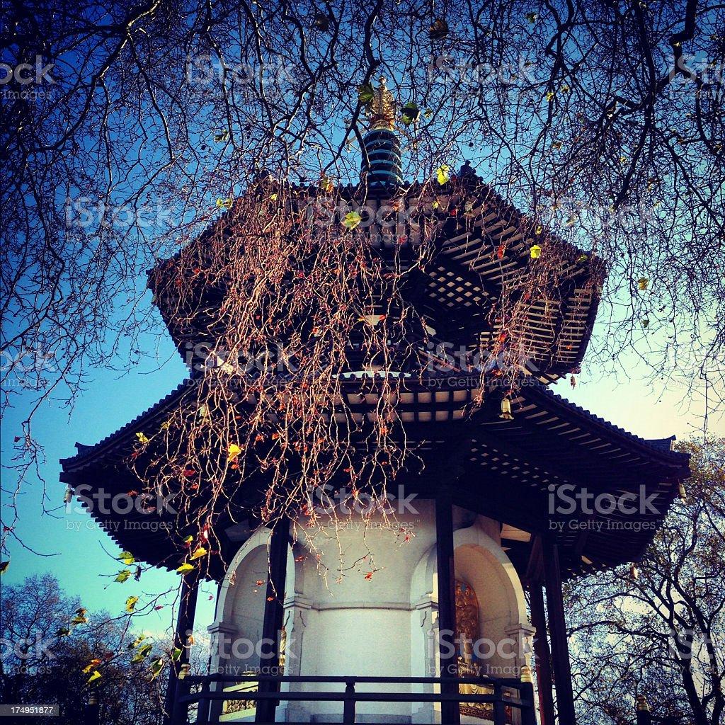 The Peace Pagoda in late Autumn stock photo