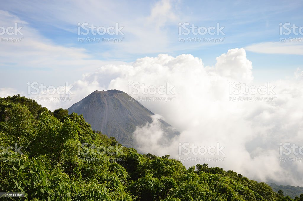 The peak of the active Izalco volcano in El Salvador stock photo