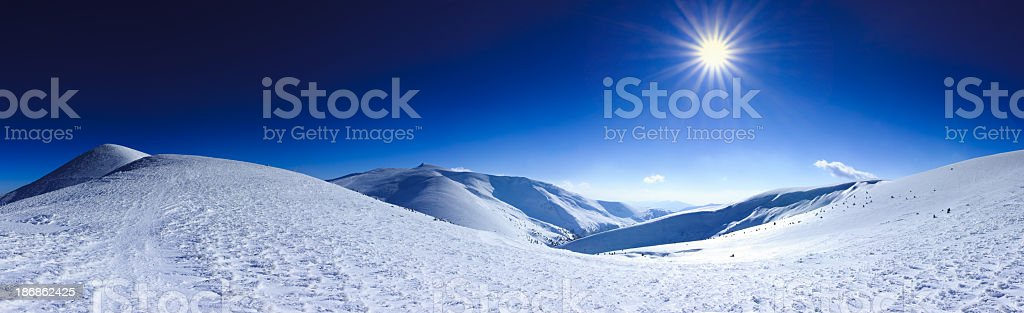 The peaks of the Carpathian Mountains in Dragobrat, Ukraine royalty-free stock photo