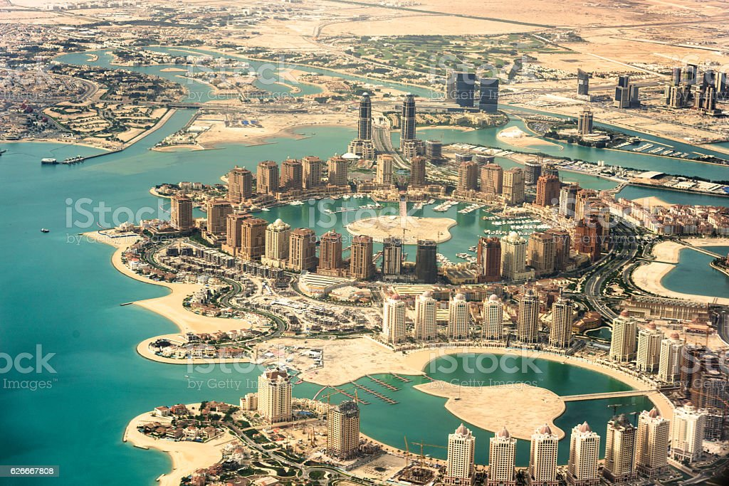 The Pearl of Doha in Qatar aerial view stock photo
