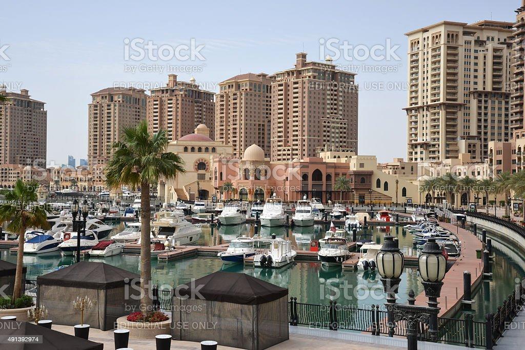Doha, Qatar - March 21, 2014: The Pearl stock photo