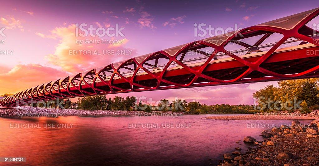 The pedestrian and cyclist Peace Bridge, Calgary, Alberta, Canada stock photo